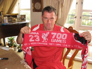 Signed Scarf Commemorating 700 Jamie Carragher Appearances