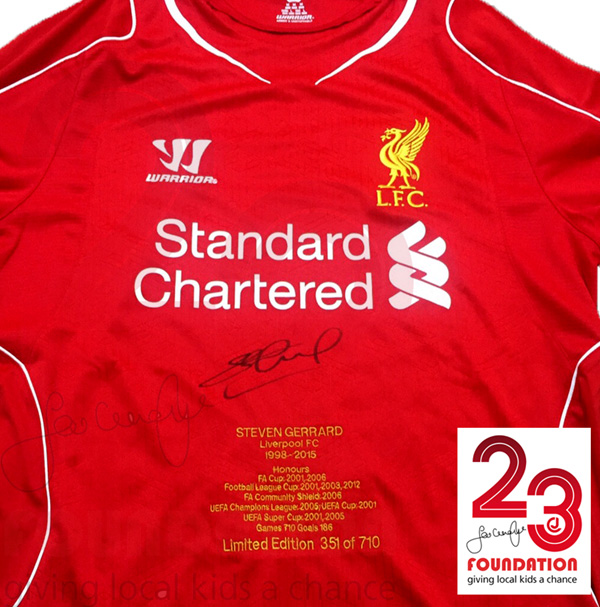 e1bdec5310299 Liverpool Signed Shirt Embroidered With Honours Signed By Steven Gerrard