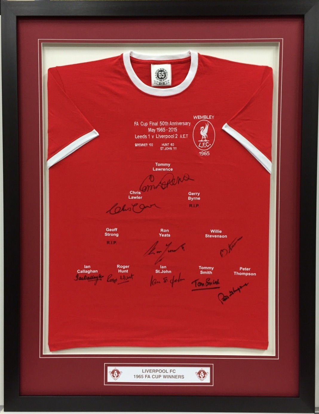 the best attitude 1bf73 df5d9 Liverpool FC 1965 FA Cup Shirt Signed By The Winning Team ...