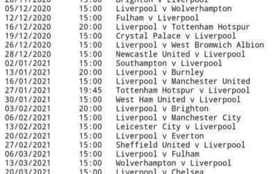 LFC 20/21 Fixtures Released ….